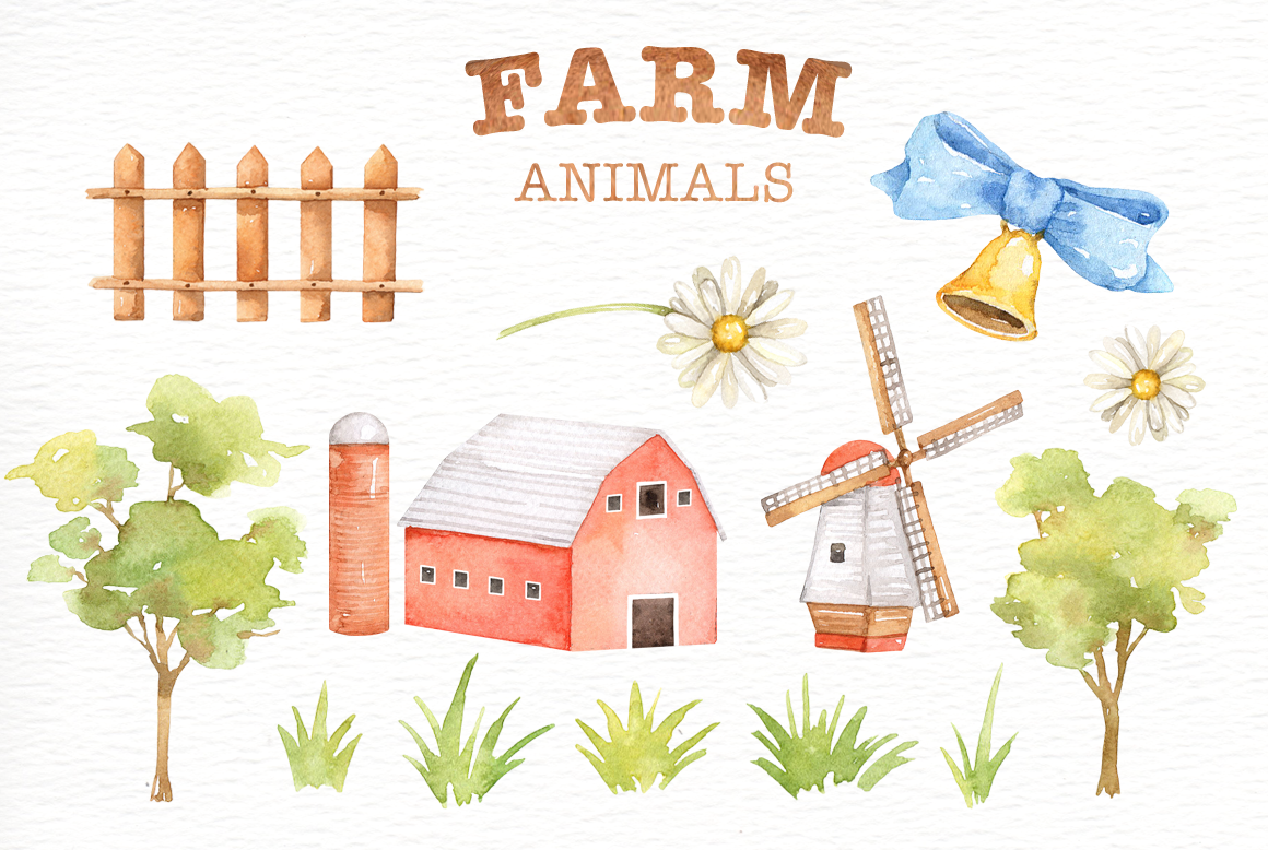 Watercolor clipart barn black and white library Farm Animals Watercolor clipart By everysunsun ... black and white library