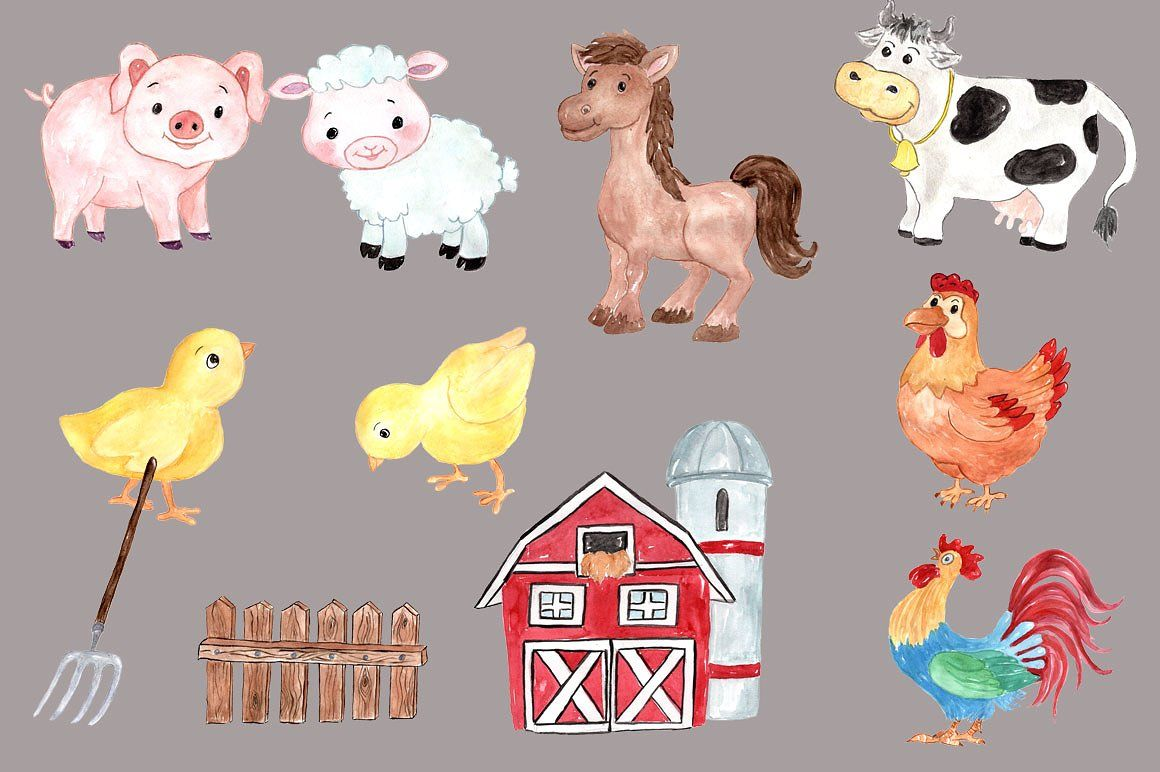 Watercolor clipart barn clip art stock Watercolor farm animals clipart #greeting#party#blogs#cards ... clip art stock