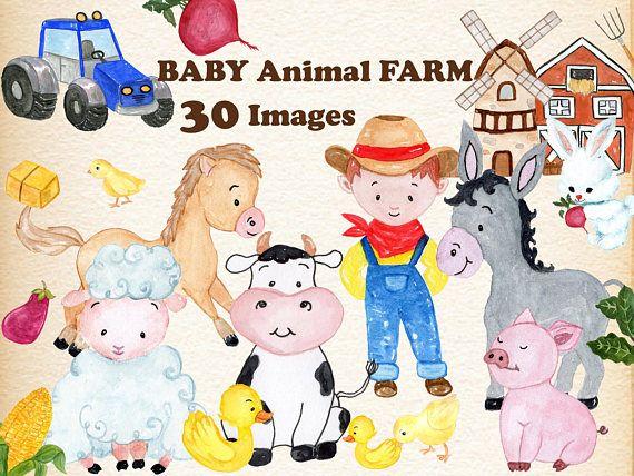 Watercolor clipart barn clip art freeuse download Baby Animals Farm clipart: \