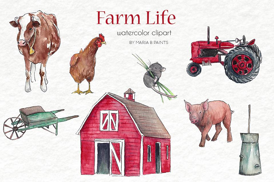 Watercolor clipart barn image free stock Watercolor Clip Art - Farm Life image free stock