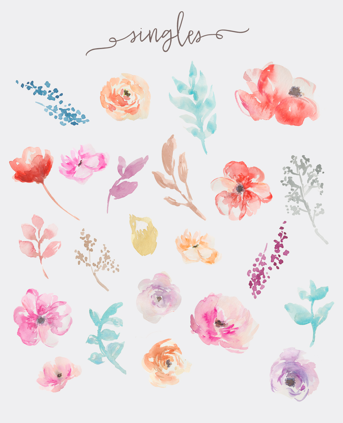 Watercolor clipart flower banner black and white library Watercolor Flowers Clip Art By Angie Makes banner black and white library