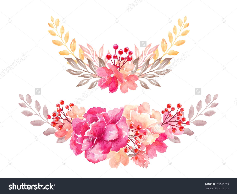 Watercolor clipart flower banner stock Floral Arrangement Garland Flowers Bouquet Design Stock ... banner stock