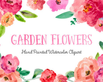 Watercolor clipart flower banner download Watercolor clipart | Etsy banner download