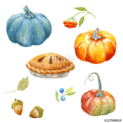 Watercolor clipart free harvest image black and white download Autumn Thanksgiving watercolor clipart\