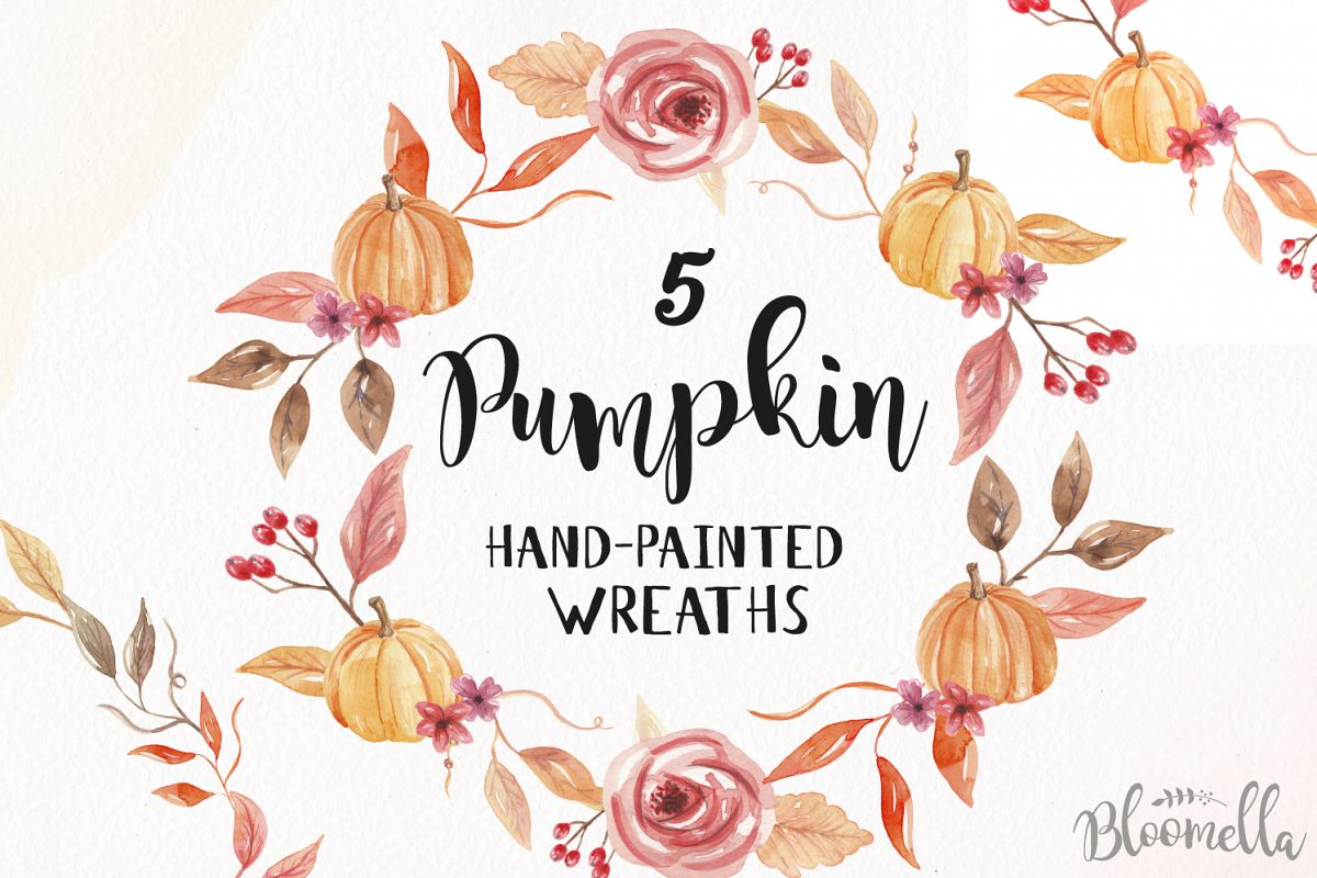 Watercolor clipart free harvest picture royalty free download Fall Pumpkin Harvest Festival Watercolor Clipart Wreaths Gar picture royalty free download