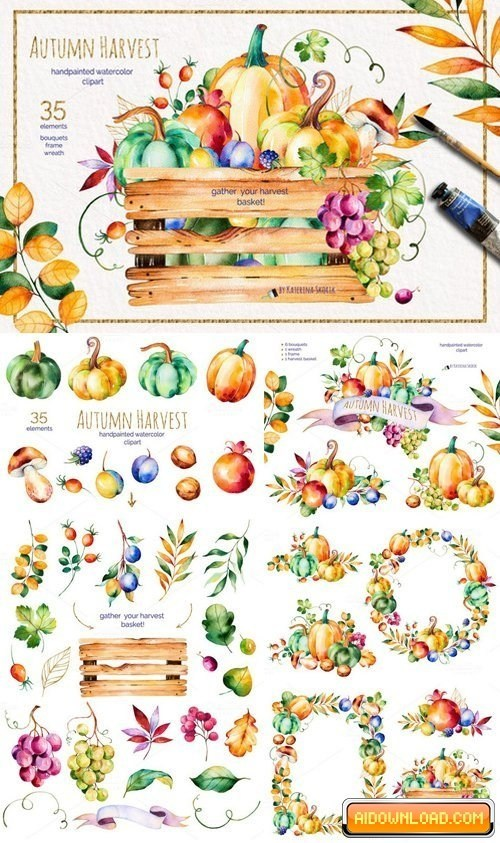 Watercolor clipart free harvest graphic black and white download Autumn Harvest Free Download | Free Graphic Templates, Fonts ... graphic black and white download