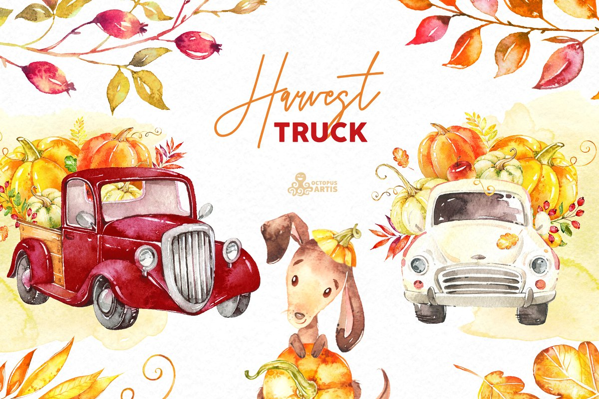 Watercolor clipart free harvest clip free library Harvest Truck. Fall Collection. ~ Illustrations ~ Creative ... clip free library