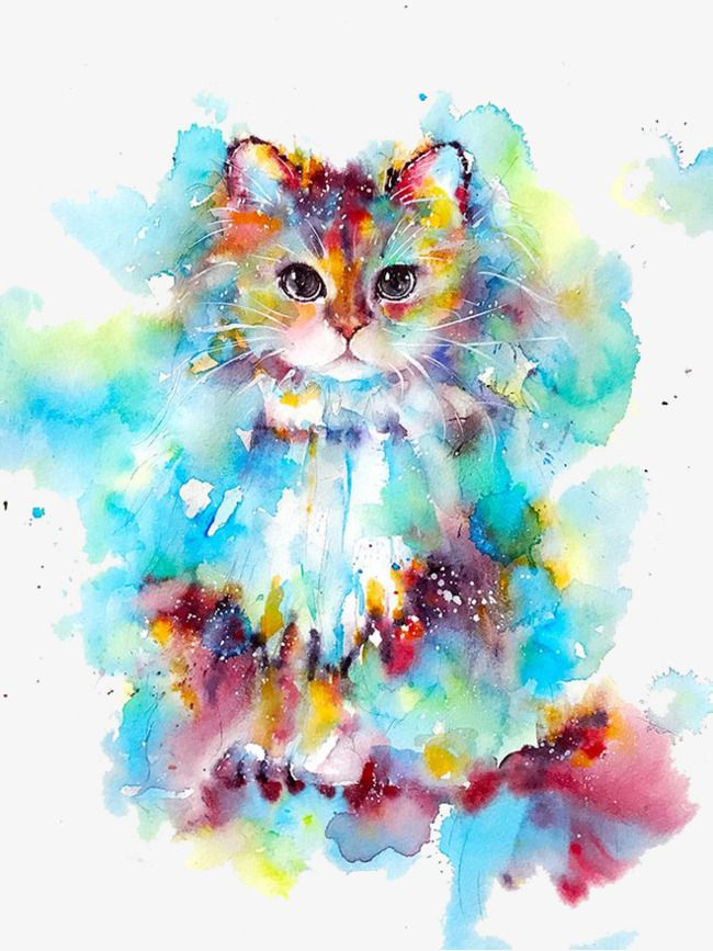 Watercolor clipart free small animals jpg black and white download Watercolor Cat, Watercolor Clipart, Cat Clipart, Kitty PNG ... jpg black and white download