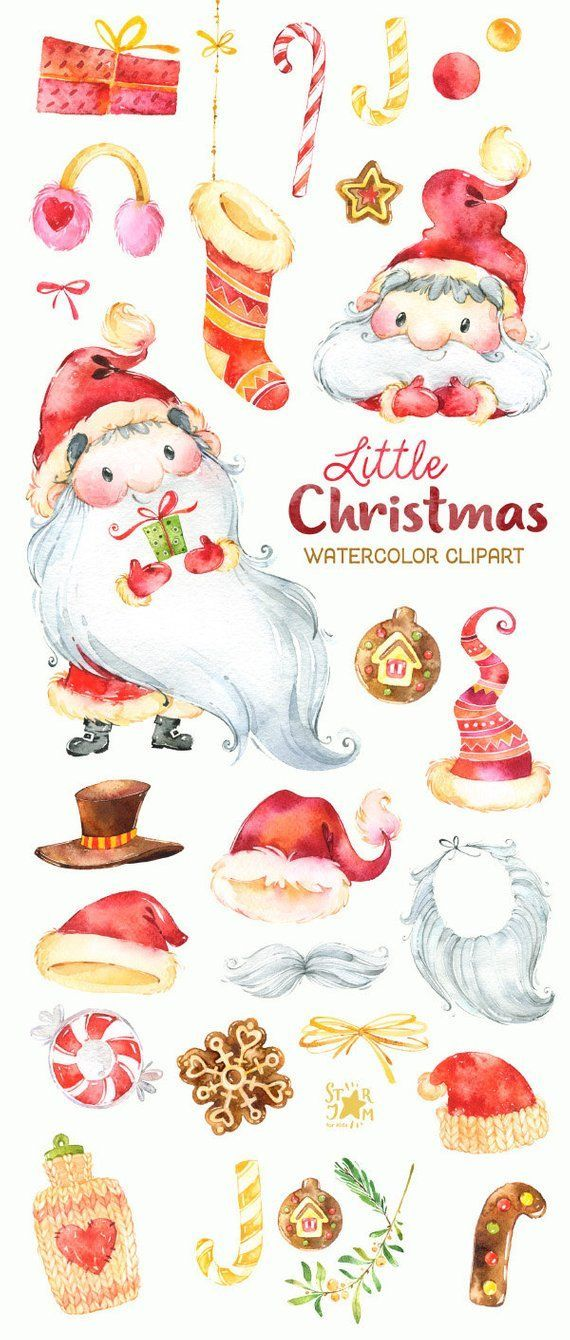 Watercolor clipart pinterest image freeuse Little Christmas. Watercolor clipart, Santa Claus, winter ... image freeuse