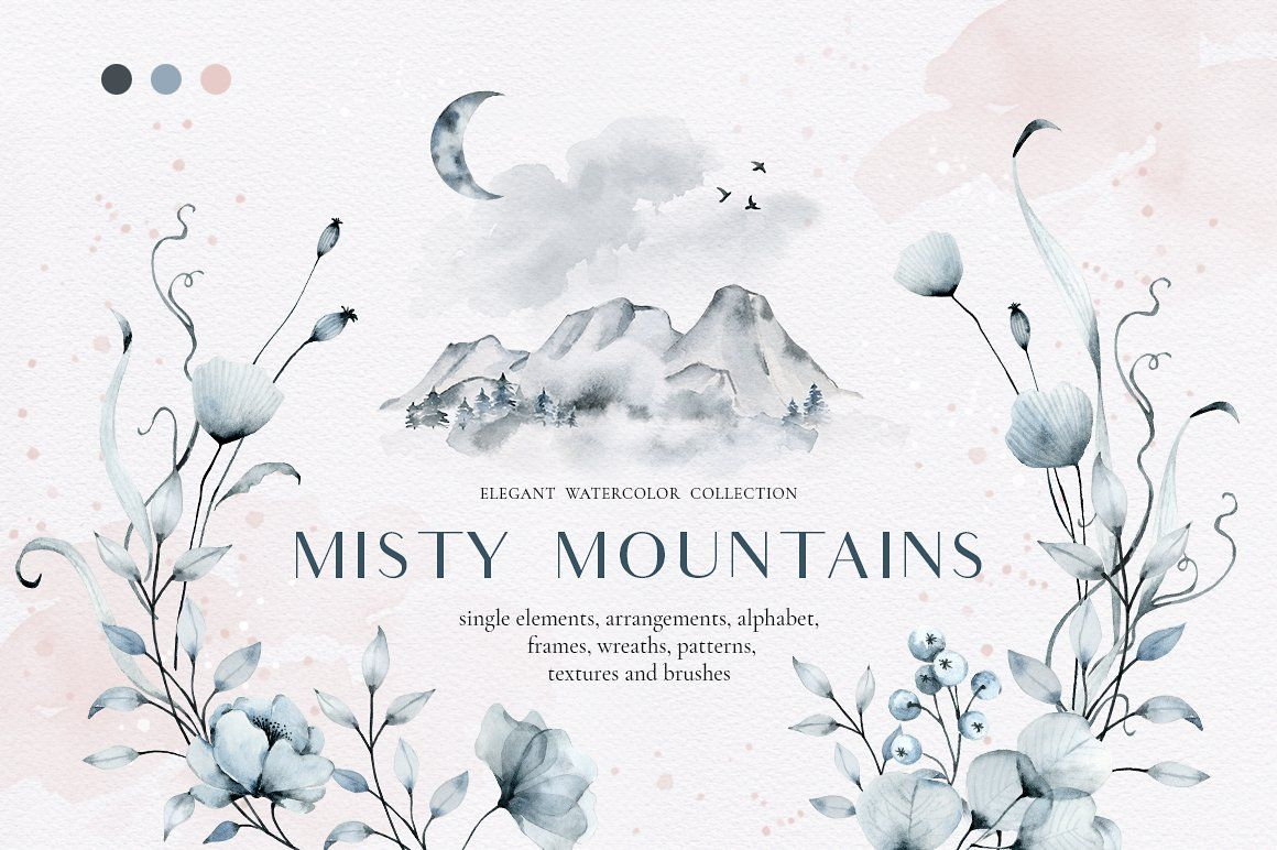 Watercolor clipart pinterest jpg library download Misty mountains - watercolor clipart by long summer on ... jpg library download