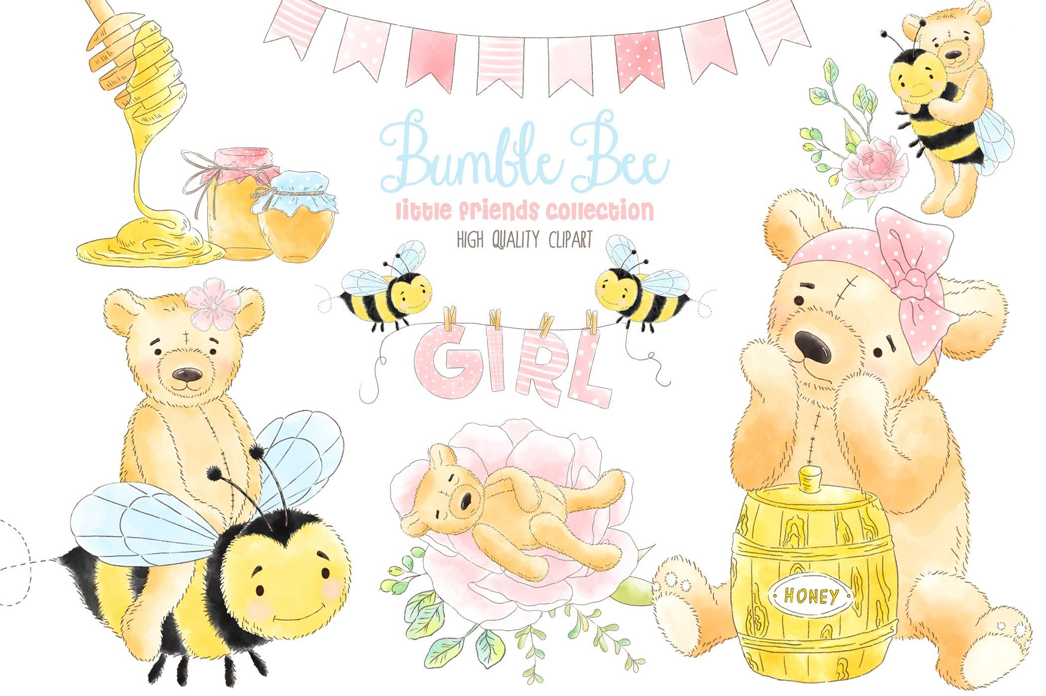Watercolor clipart pinterest svg library stock Bee Honey Watercolor clipart by EasyPrint PD on ... svg library stock