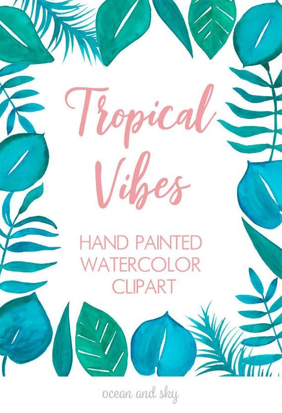Watercolor clipart pinterest banner transparent Tropical Vibes Watercolor clipart, Wedding clipart, instant ... banner transparent