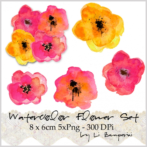 Watercolor clipart png clip royalty free download Digital PNG Clipart, Watercolor Flowers II, Clipart Watercolor ... clip royalty free download