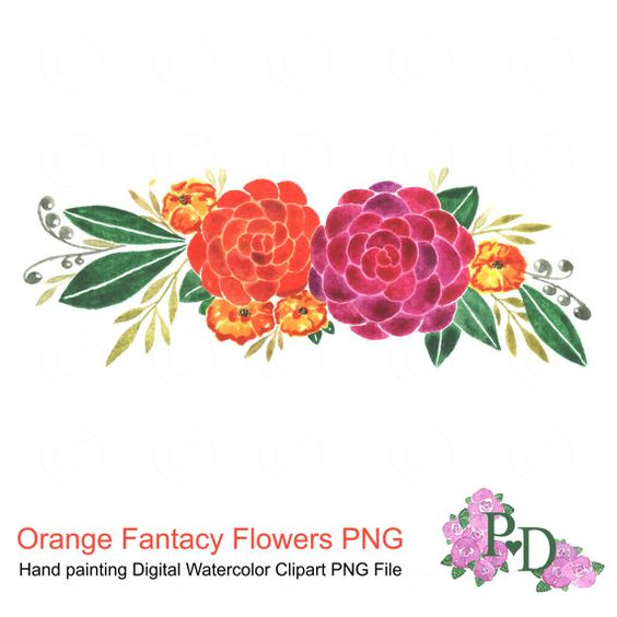 Watercolor clipart png banner free Watercolor clipart, Orange Flowers Clip Art, floral design, PNG ... banner free