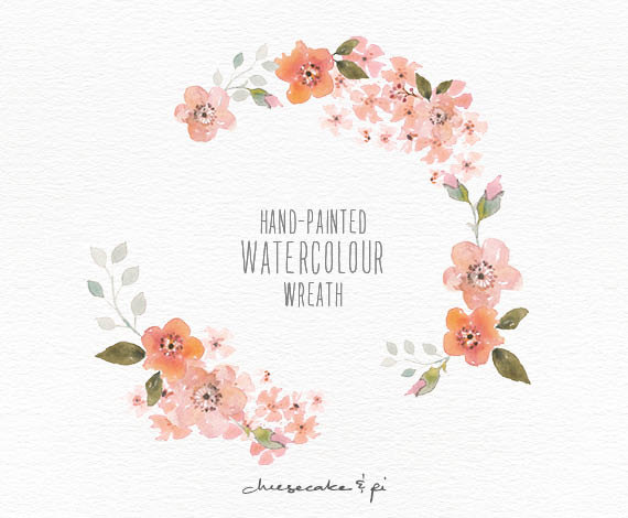 Watercolor clipart png svg freeuse library This elegant blossom watercolor wreath is hand painted with love ... svg freeuse library