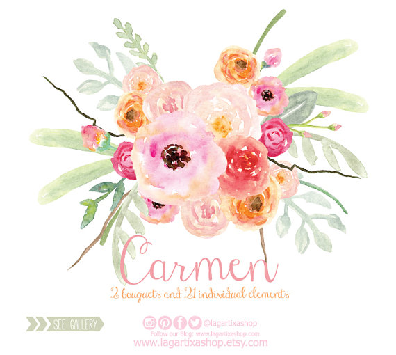 Watercolor clipart png jpg royalty free download Watercolor Clipart, Floral PNG, Wedding Bouquet, Arrangement ... jpg royalty free download