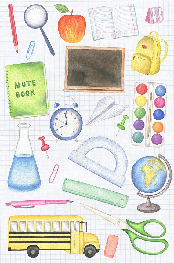 Watercolor clipart school clipart free library Back to School Clipart, Watercolor Clipart, School Supplies ... clipart free library