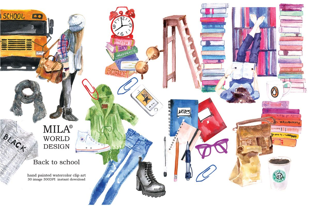 Watercolor clipart school banner black and white library Back to school Watercolor Clipart banner black and white library