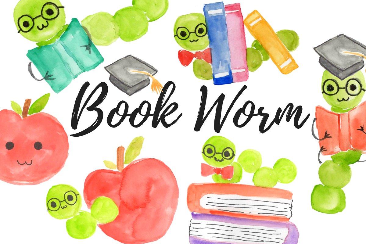 Watercolor clipart school clipart freeuse Watercolor school bookworm clipart clipart freeuse