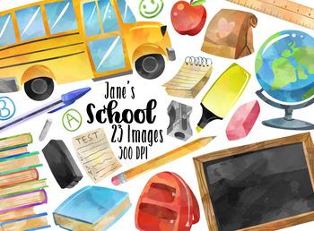Watercolor clipart school jpg royalty free stock Watercolor School Supplies Clipart jpg royalty free stock