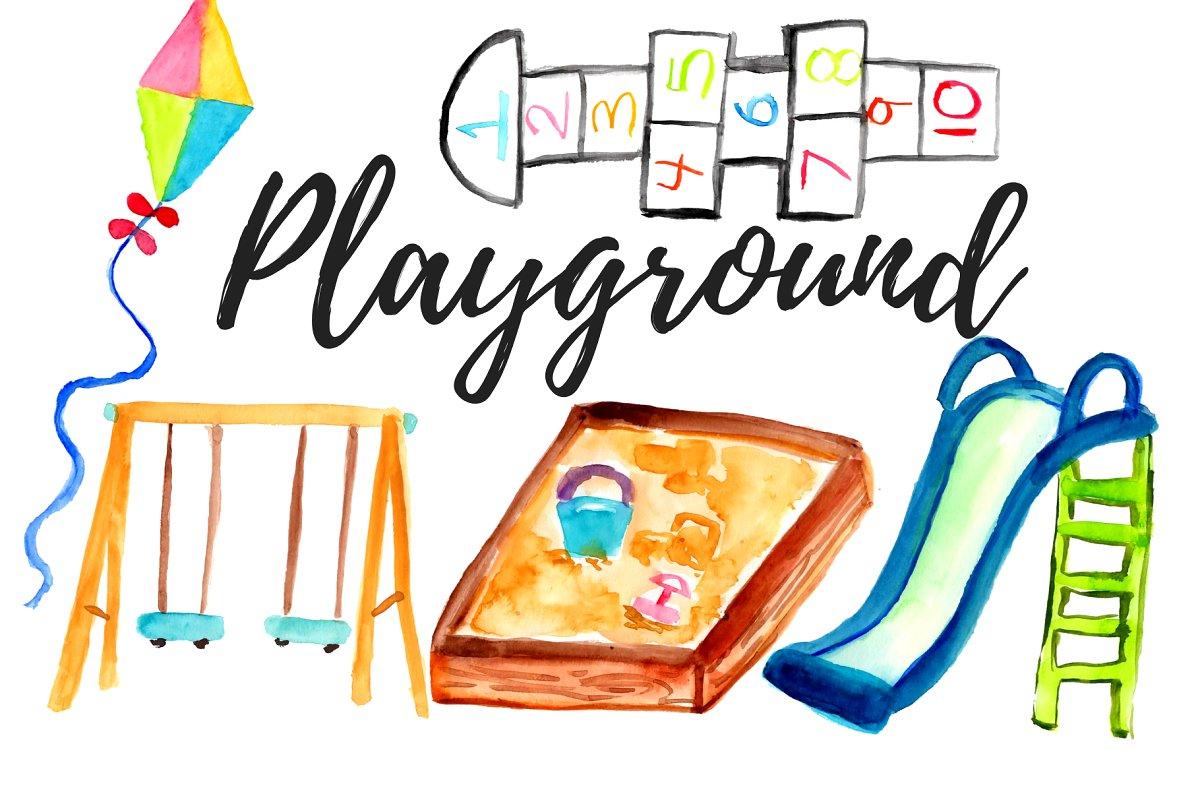 Watercolor clipart school graphic library Watercolor Playground Clipart graphic library