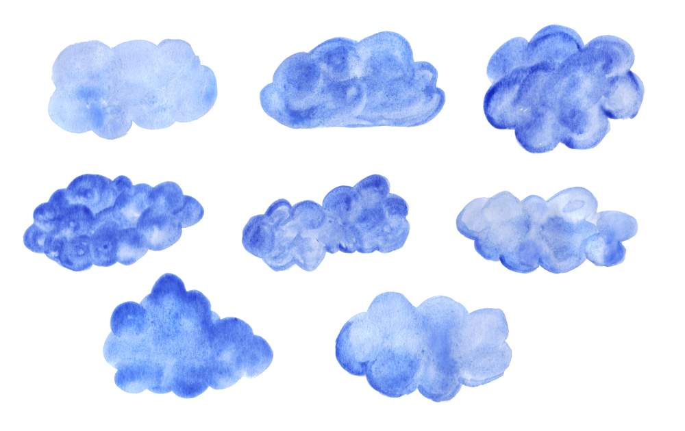 Watercolor clouds clipart clipart freeuse library 8 Blue Watercolor Clouds (PNG Transparent) | OnlyGFX.com clipart freeuse library