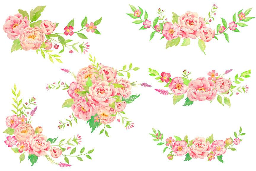 Watercolor corner bouquet clipart svg freeuse Watercolor peony bouquet, posy and corners, pink peony compositions for  instant download svg freeuse