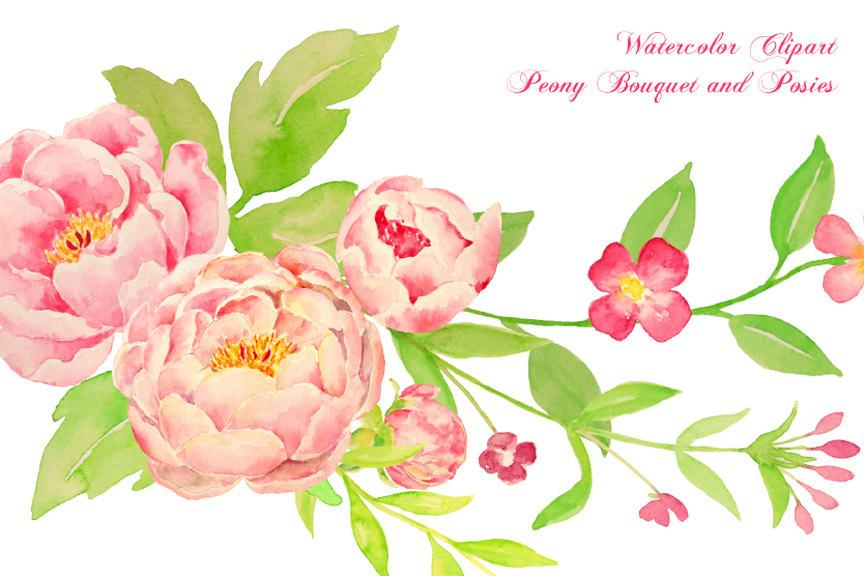 Watercolor corner bouquet clipart jpg library stock Watercolor peony bouquet, posy and corners, pink peony compositions for  instant download jpg library stock