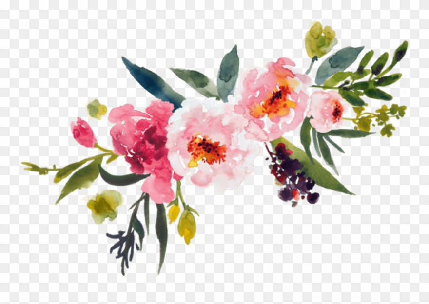 Watercolor corner bouquet clipart picture free download Painting Flower Bouquet Clip Art Leaves Transprent ... picture free download