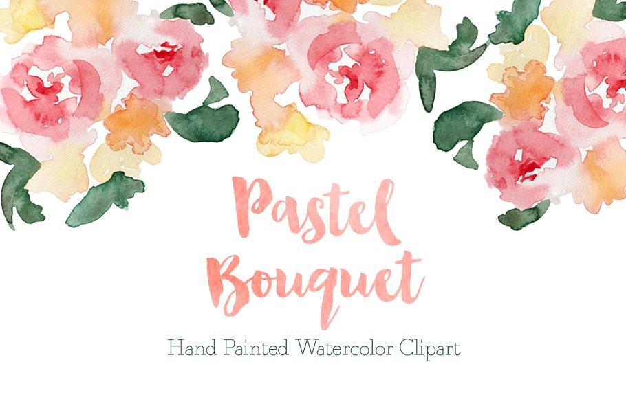 Watercolor corner bouquet clipart svg free download Pastel Watercolor Bouquet Clipart ~ Illustrations ~ Creative ... svg free download