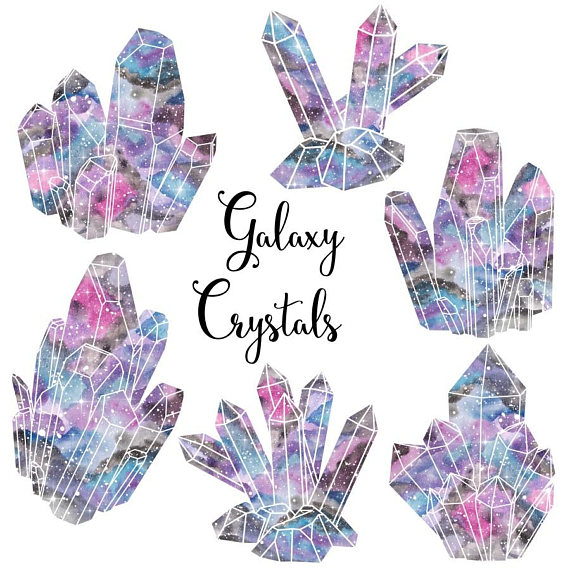 Watercolor crystal cluster clipart