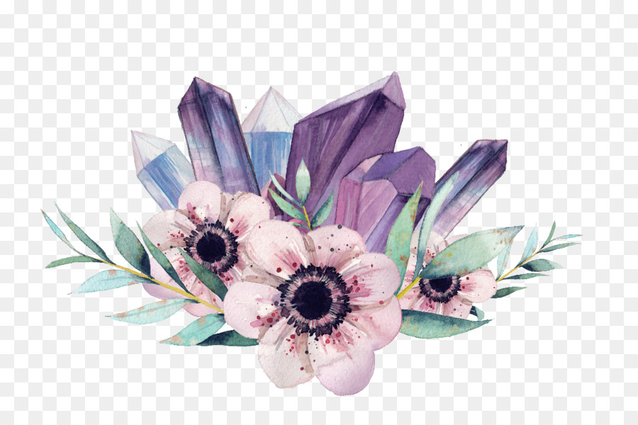 Watercolor crystal cluster clipart clip free Bouquet Of Flowers Drawing png download - 1200*786 - Free ... clip free