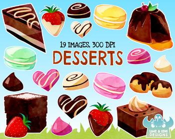 Watercolor dessert clipart vector download Dessert Watercolor Clipart, Instant Download Vector Art, Commercial Use  Clip Art vector download