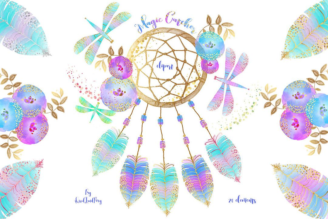 Watercolor dreamcatcher clipart jpg free library Dream catcher clip art, digital watercolor clipart, feathers with gold  confetti, flowers, dragonflies, Translucent and neon effects, magic jpg free library