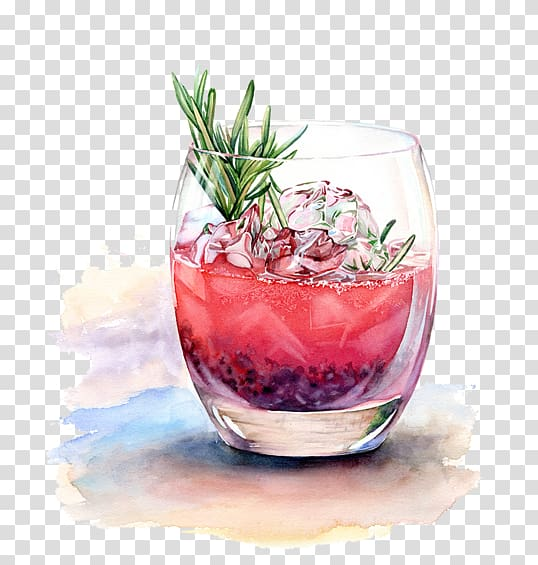 Watercolor drinks clipart jpg transparent download Red liquid in clear rock glass, Cocktail Watercolor painting ... jpg transparent download