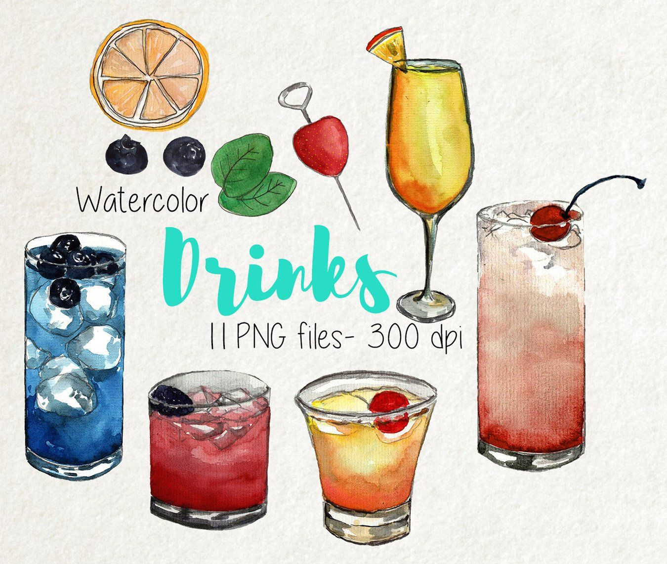 Watercolor drinks clipart clip royalty free library Watercolor Drinks clipart set, drinks watercolor, watercolor ... clip royalty free library