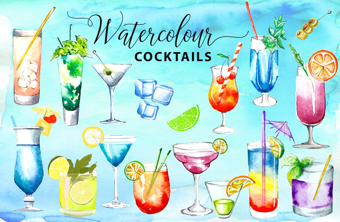 Watercolor drinks clipart clip royalty free download Watercolor Cocktails Watercolor Drinks Watercolor Clipart ... clip royalty free download