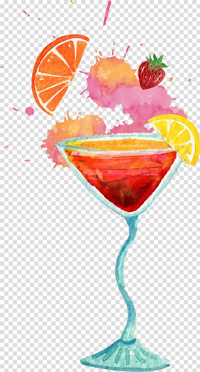 Watercolor drinks clipart graphic freeuse Fruit cocktail, Cocktail Mojito Cosmopolitan Soft drink Beer ... graphic freeuse