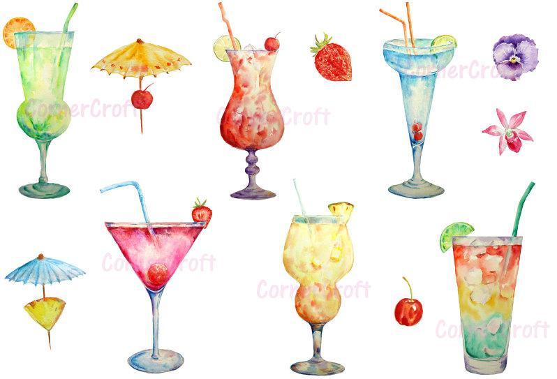 Watercolor drinks clipart clip art black and white library Hand painted watercolour cocktails digital clip art printable instant  download scrapbook watercolor cocktail glass clip art black and white library