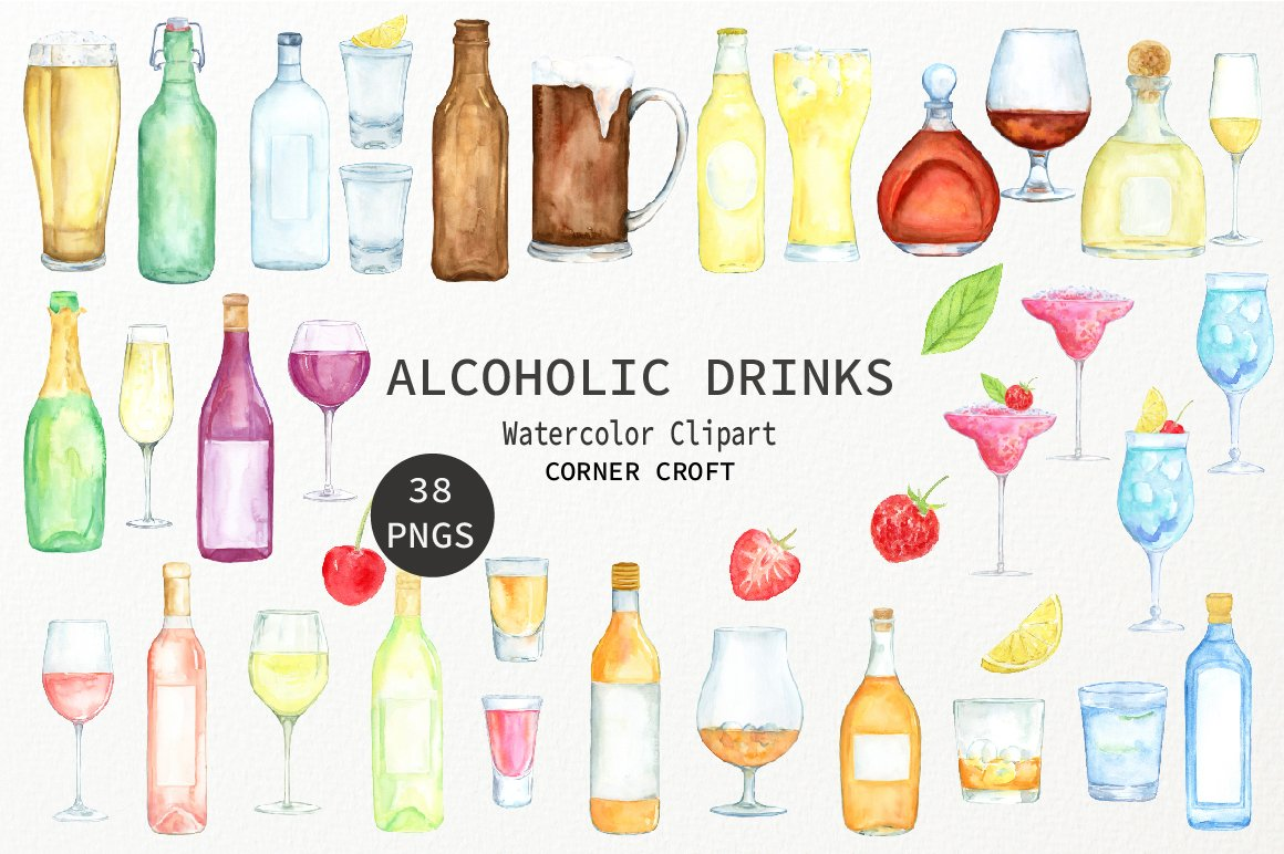 Watercolor drinks clipart vector royalty free Watercolour clipart alcohol, wine, beer, liquor, vodka ... vector royalty free