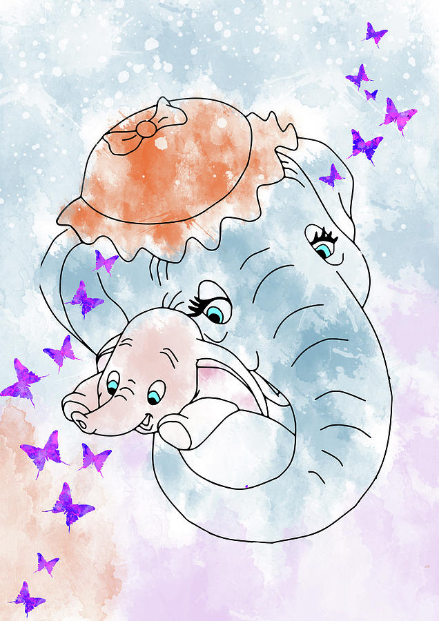 Watercolor dumbo clipart clip library stock Dumbo And His Mother clip library stock