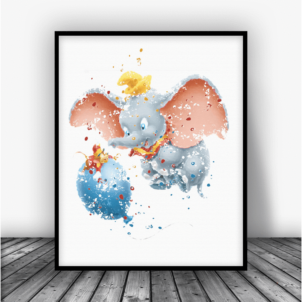 Watercolor dumbo clipart clip art black and white Dumbo and Timothy Art Print Poster clip art black and white