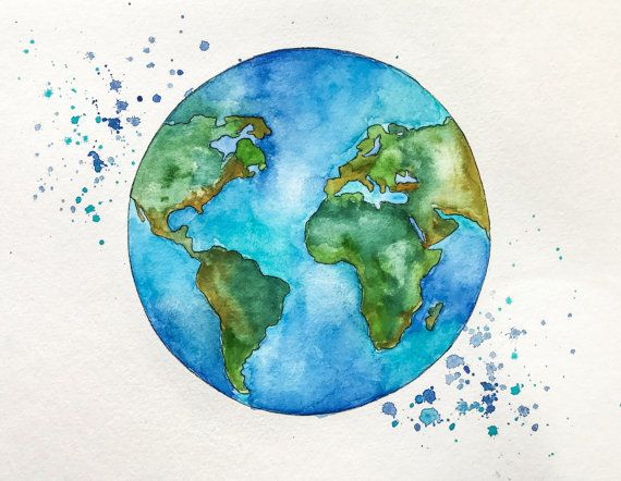 Watercolor earth clipart clipart library library Original Globe World Map Watercolor Painting by ... clipart library library