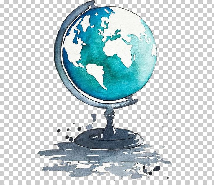 Watercolor earth clipart banner black and white download Globe Watercolor Painting Drawing Art PNG, Clipart, Art ... banner black and white download