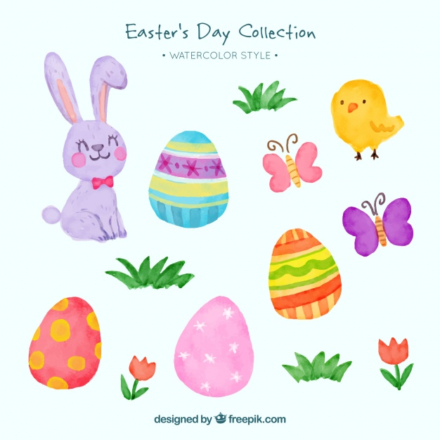 Watercolor easter free clipart jpg free Pack of rabbits and watercolor easter eggs Vector   Free ... jpg free