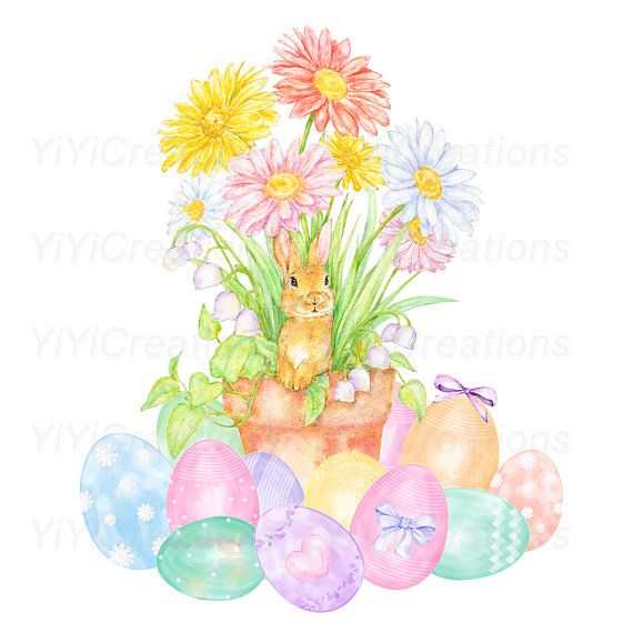 Watercolor easter free clipart vector freeuse library Happy Easter Eggs Clipart, Bunny Watercolor Clipart, Rabbit ... vector freeuse library