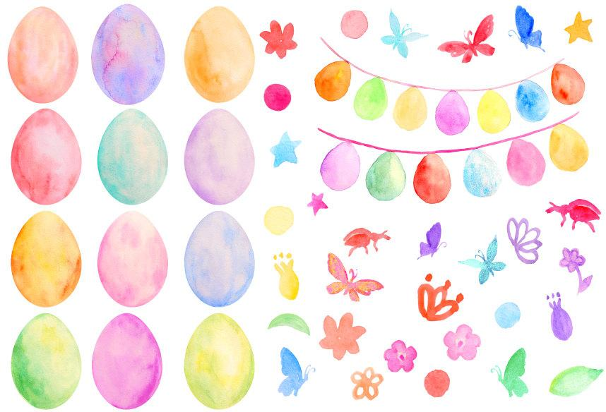 Watercolor easter free clipart png free download Easter Clip Art, watercolor pastel color Easter eggs ... png free download