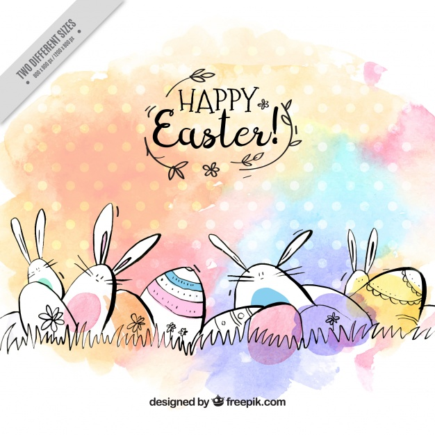 Watercolor easter free clipart jpg Fantastic easter background with eggs and rabbits in ... jpg