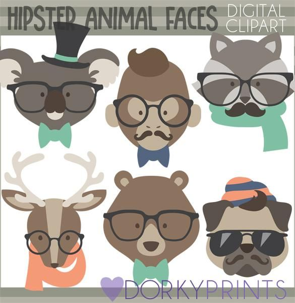 Watercolor fall hipster clipart image transparent library Hipster Animals Clipart   Watercolor and Clipart Sets   Clip ... image transparent library