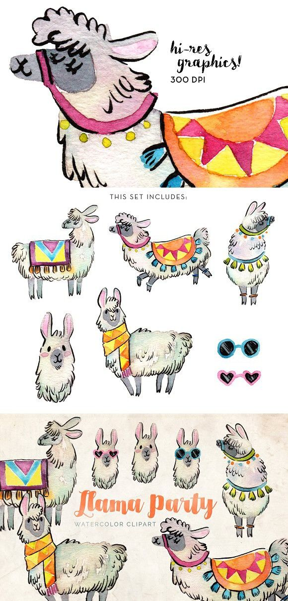 Watercolor fall hipster clipart picture Llama Party Watercolor Clipart Set #llamas #alpaca   Hipster ... picture